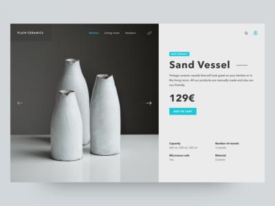 Ceramic Vessels minimal bag product vessel ceramic vessels cart commerce e-commerce product page shop ui