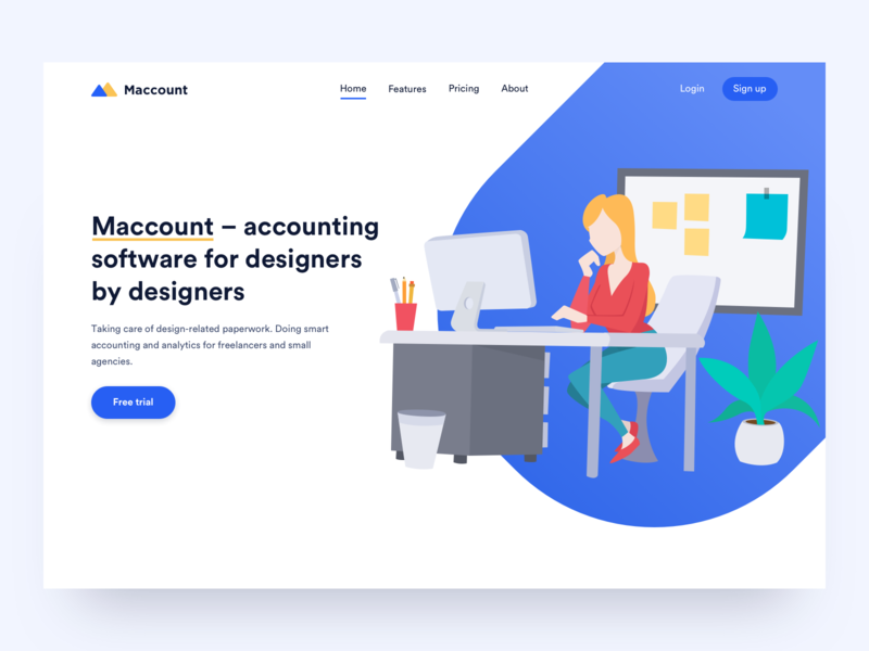 Designer Accounting Home Page Concept ui application logo ux website landing homepage illustration tool app accounting landing page