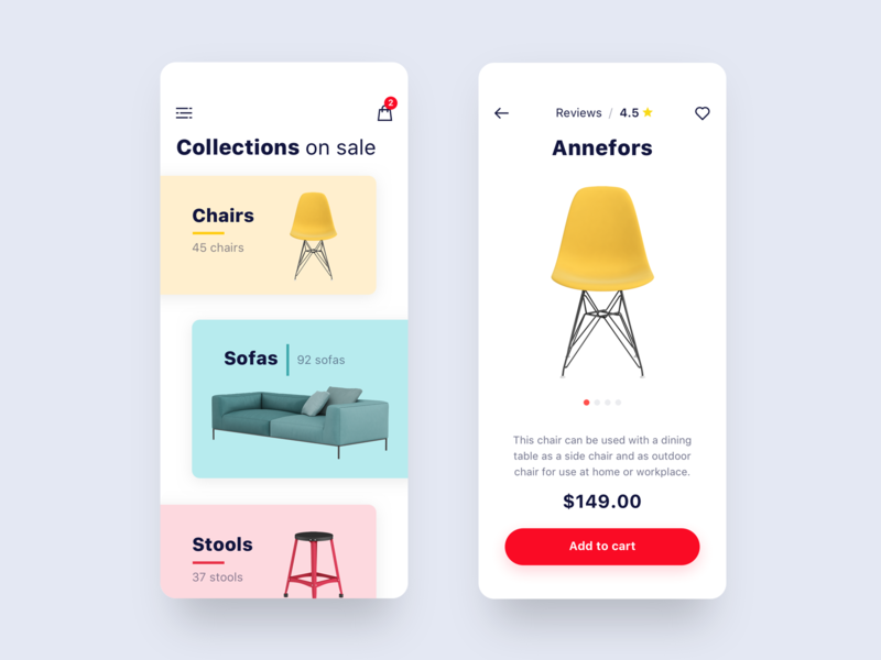 Furniture Store App price cart colourful furniture ux ui shop store minimalist ios ecommerce app design concept app