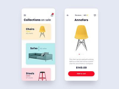 Furniture Store App shopify price cart colourful furniture ux ui shop store minimalist ios ecommerce app design concept app