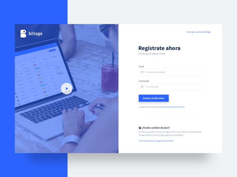 Register page faq blue password email video form ux ui sign in sign up login register