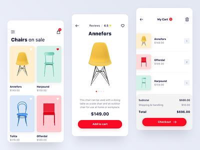 Furniture Store App - More Screens shopify price cart colourful furniture ux ui shop store minimalist ios ecommerce app design concept app
