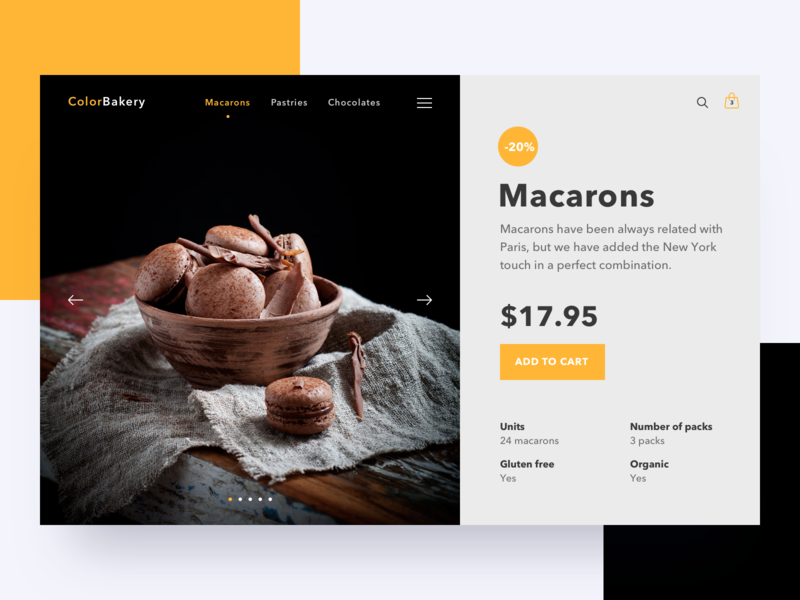 Macarons details page ui shop product page bakery pastry macarons e-commerce commerce cart bag