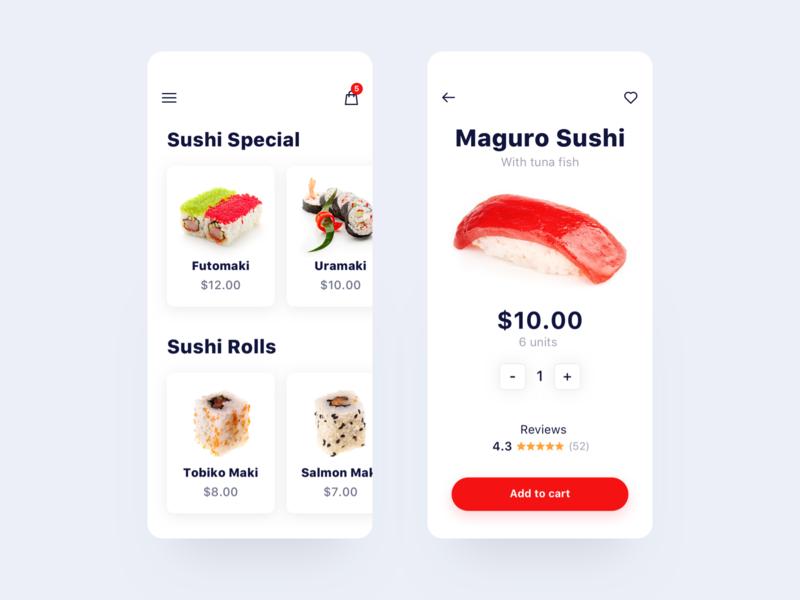 Food App reviews food sushi ux ui store shop price minimalist ios ecommerce concept cart app
