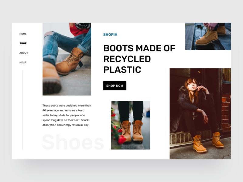 Shoes shop desktop clothes exploration concept shop store shoes boots collection commerce app