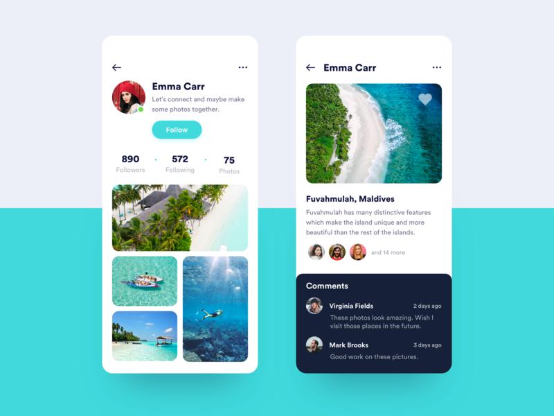Travel Photo App vacations ux ui trip travel profile mobile likes iphone ios destination beach app adventure