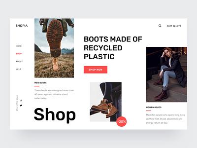 Shoes shop exploration shopify store shop shoes exploration desktop concept commerce collection clothes boots app