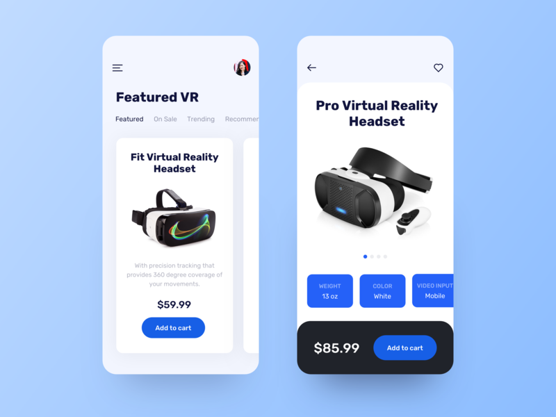 Virtual Reality Headset technology features glasses headset vr virtual reality ux ui store shop price minimalist ios ecommerce concept cart app