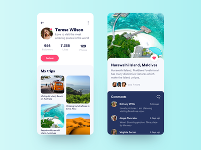 Travel Photo App Improved vacations ui ux trip travel profile mobile likes iphone ios destination beach app adventure