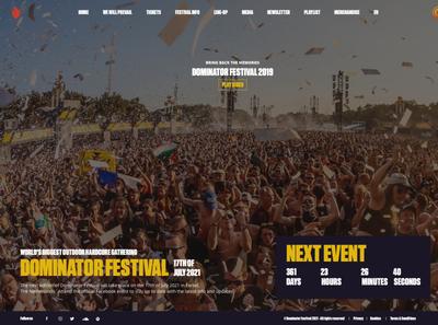 Re-design Dominator Festival crowd merchandise video people party outdoor webdesign website uiux ui countdown sketch aftermovie hardstyle hardcore dominator dominator festival qdance