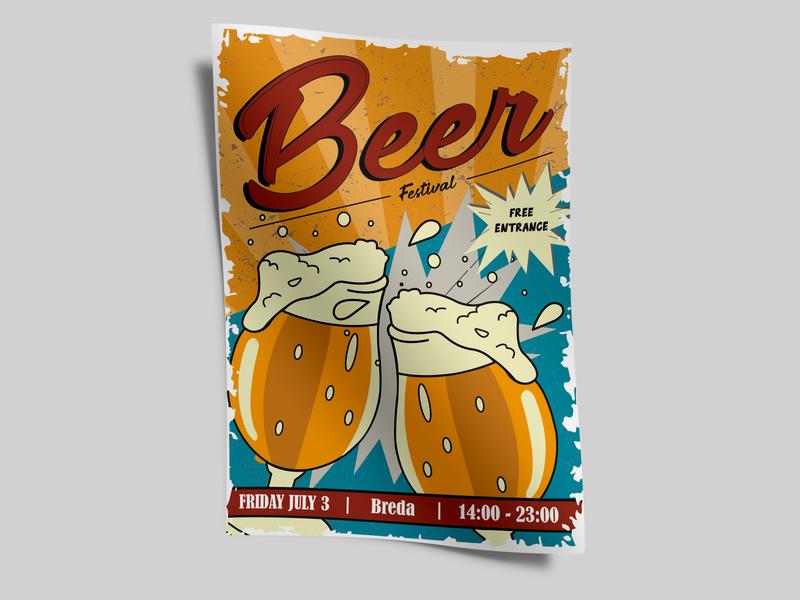Beer Festival Poster illustrator dribble shot drawing sketch illustration graphic dribble poster drinks festival beer