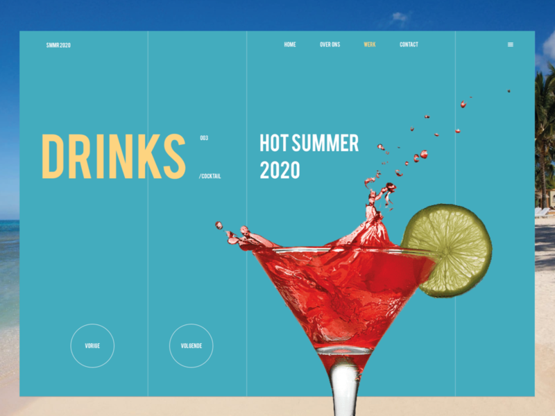 Hot summer 2020 branding uiux ui design sketch dribble cocktails webdesign website desktop drinks summer hots