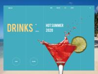 Hot summer 2020 branding uiux ui design sketch dribble cocktails webdesign website desktop drinks summer hots