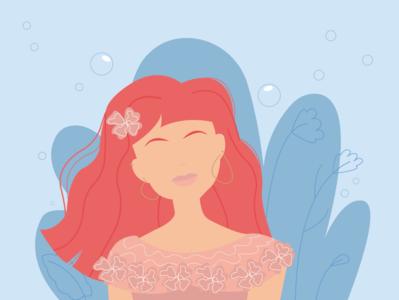 Under the sea illustration illustrator shot dribble bubbles water sea plants drawing sketch mermaid