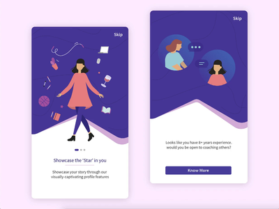 A Professional Network for Women - Design & Dev | Mobile App business onboarding animation illustrations women empowerment social network women social professional mentoring mentorship ui ux user experience divami userinterface branding mobile design ios android