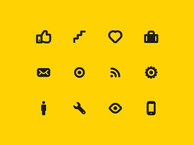 Getontop icon set icon like up heart love bag case mail letter target goal communication gear people man wrench eye mobile phone ios icons set vector presentation app glyphs design