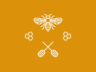 Honey stuff mark design logo unused honey yellow bee hive honeycomb icon
