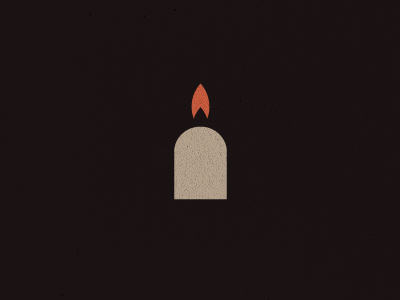 Headstone + candle mark design logo unused headstone candle memory light flame fire icon soul