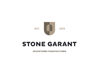 Stone garant crest manufacturer icon memory headstone unused logo design mark shield stone garant