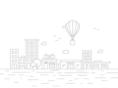 App city design illustration mobile app up line vector town media marketing web stroke