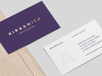 Kira Smith business card business card typeface custom font font typography logo lettering design fur clothing apparel leather