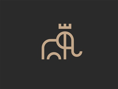 King elephant unused animal mark elephant icon logo king krown design line minimal illustration
