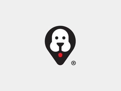 Woof Advisor puppie negative space face animal dog pin logo design mark advisor unused travel