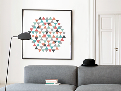Art print digital fineart abstract modern hexagon print poster art triangle design illustration vector