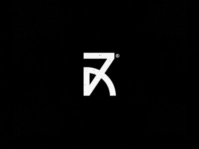 7R mark logo design 7 r letter lettering number typography geometric