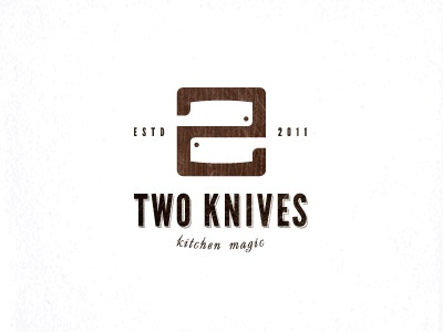 Two knives unused design board wood backsword knives logo kitchen knife 2 two old magic show negative space