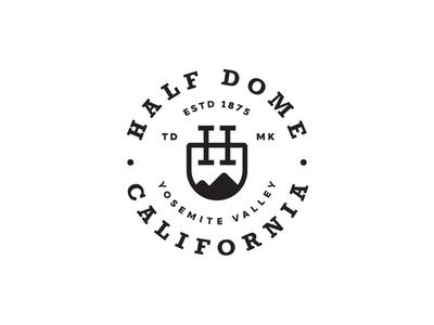 Half Dome climbing california journey travel mountain monogram logotype logo design crest circle