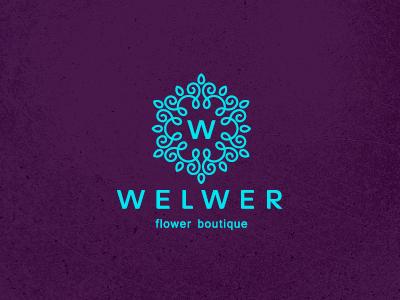 Welwer unused letter w flower tracery crest logo design boutique