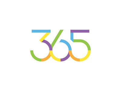 365 break gap number colorfull 365 round circle custom font typography logo lettering design