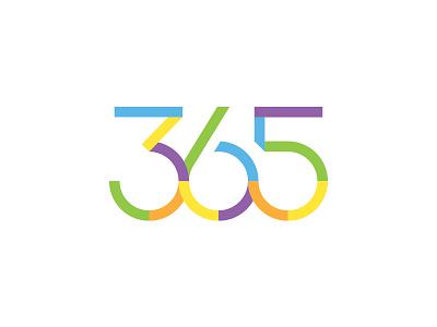365 break gap number colorfull 365 round circle custom font typography logo lettering design