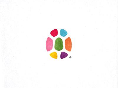 Turtle  unused children color negative space design mark logo round turtle shell egg