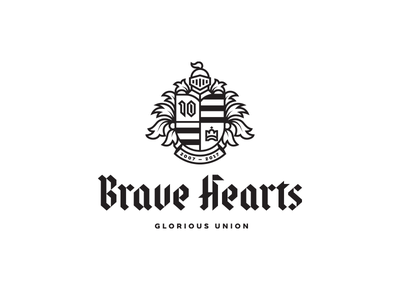 BraveHearts calligraphy blackletter knight shield heraldic crest illustration custom font lettering typography mark logo design