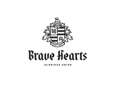BraveHearts calligraphy blackletter knight shield heraldic crest illustration custom font lettering typography mark logo design