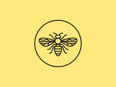 Bee mark line honey bee branding illustration round circle icon mark logo design
