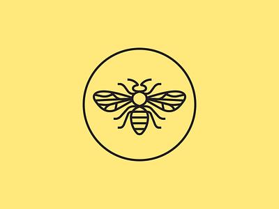 Bee mark line honey bee branding illustration round circle icon mark logo design