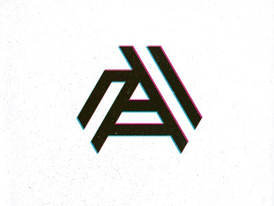 A unused design logo typography letter a 3d icon mark stereo