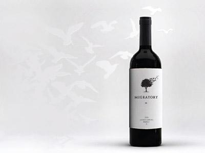 Migratory wine concept mark design logo tree wood bird fly migratory wine vine bottle unused grape label sticker wine label packaging package leaf illustration