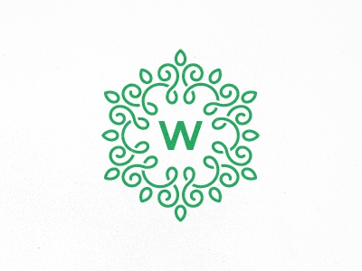 Welwer unused boutique design logo crest tracery flower w letter