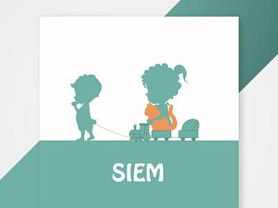 A birth announcement for Siem rugby birth birth announcement silhouette card design sketch illustrator illustration