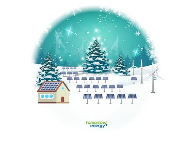 Dribble Tomorrow Energy holidays illustrator illustration solar green energy christmas card energy christmas