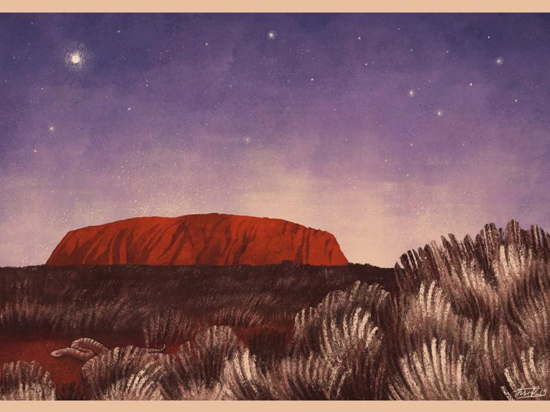 Uluru childrens illustration folklore australia uluru editorial illustration illustration