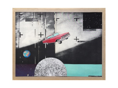 Tesla (1/5) illustration photograpy graphics craft sky space moon earth car red collage handmade