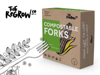 The ReGrow Co. – logotype and packaging box design box cutlery corn ecology pantone desktop publishing package design packaging brand identity brand design logotype dtp logo branding adchitects graphic design design illustration graphics