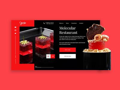 Molecular restaurant design landing page restaurant