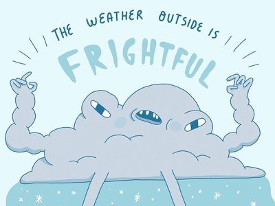 Mr. Winter Weather character design character drawing frightful cloud winter weather illustration