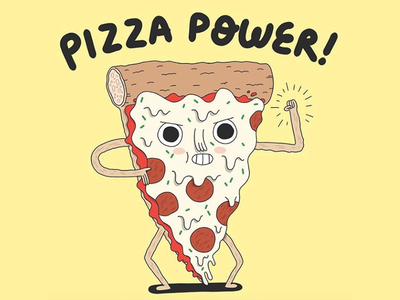 Pizza Power! art drawing power cute character design character illustration pizza